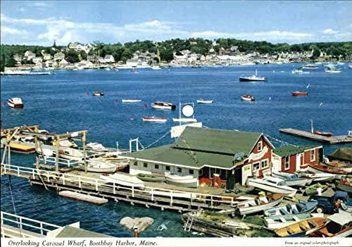Overlooking Carousel Wharf Boothbay Harbor Maine Me Original Vintage Postcard At Amazon S Entertainment Collectibles Store