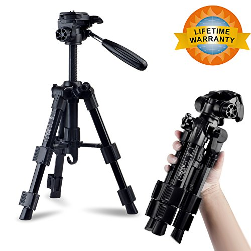 Mini Travel Tripod, Aluminium Lightweight Monopod Portable, Professional Camera Tripod with 3-Way Pan/Tilt Head 1/4 inches Quick Release Plate for Digital/Video/DSLR Cameras,12-21 Inch Adjustable