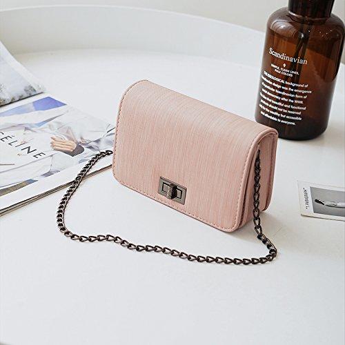 WXIN Bolso Pequeño de Chica de Moda Chic Chain Plaza Pequeña Bolsa Minimalista Solo Hombro Bolsa de Hombro,Pink