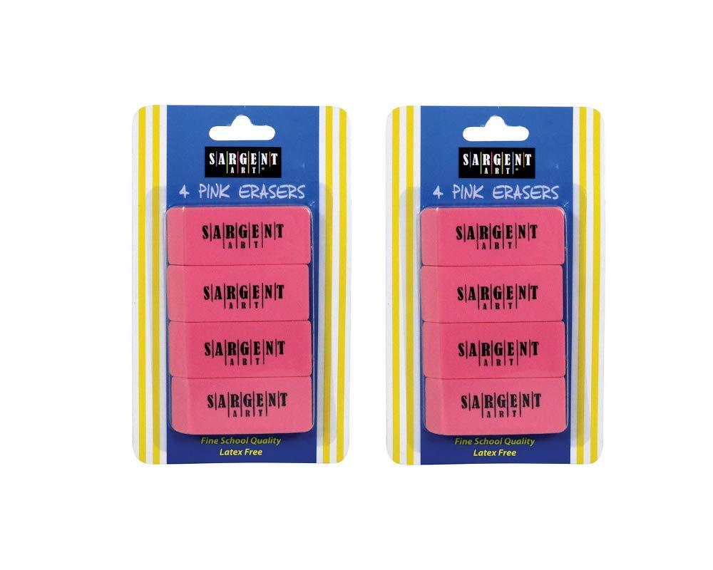 2 pack, total 72 Sargent Art 36-1012 36 Count Eraser Best Buy Pack Pink
