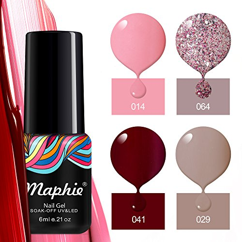 - Maphie Gel Nail Polish Set of Nude Glitter Collection Colors Need UV LED  Lamp- 4pcs/set 0.21 oz