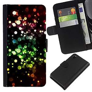 EJOY---La carpeta del tirón la caja de cuero de alta calidad de la PU Caso protector / Sony Xperia Z3 D6603 / --Bling Bling puntos Sparkle Wallpaper