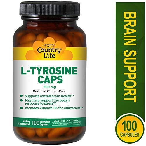 Country Life L-Tyrosine Vegetarian Capsules 500mg With B-6, 100-Vegetarian Capsules