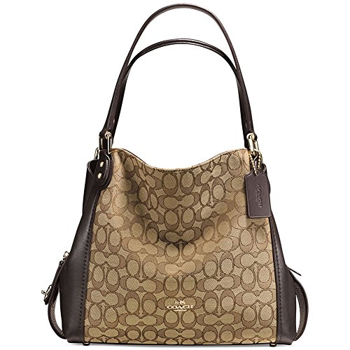 Coach Women's Edie 31 Signature Shoulder Bag, Light Gold, Khaki, Brown, OS