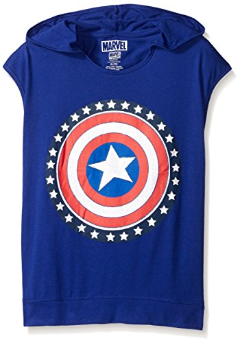 Marvel Big Girls' Captain America Hooded Top, Navy, Small/7 -