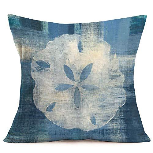 Smilyard Vintage Marine Life Decorative Pillow Covers Blue Ocean Style Seashell Throw Pillow Case Coastal Theme Cushion Cover Sofa Decor 18x18 Inches(OW07)