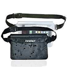 [2 Pack] iVoler Waterproof Pouch Bag Case Waist Strap for Beach, Swim, Boating, Kayaking, Hiking, Etc - Protect Iphone,Cellphone,Camera,Cash,Mp3,Passport, Document From Water, Sand, Snow, Dust and Dirt