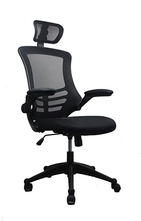 Amazon Com Modern High Back Mesh Executive Chair With Headrest And Flip Up Arms Color Black Furniture Decor