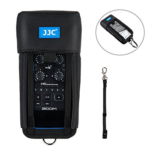 Handy Recorder Pouch JJC Portable Case Accessories for Zoom H6 with Hook and Loop Fasteners Design, Removable Mic Cover, Belt loop, Boom Pole Sleeve and ()