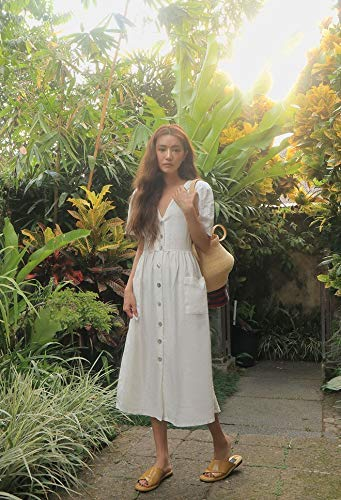 Loose dress white summer/women clothes/chic by LINEN.Forests