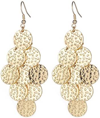 Girl Era Sexy Gold Plated Earrings Popular Round Plates Drop Dangle Earrings for Womens