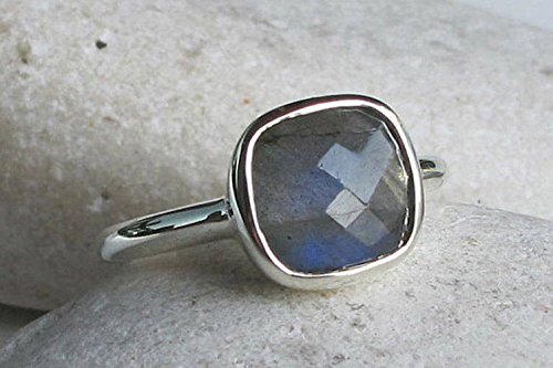 Labradorite Square Stackable Ring Size 7