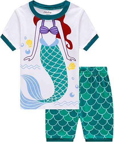 Girls Mermaid Pajamas Summer Baby Girl Clothes Children Cartoon PJs Short Set Sleepwear 5t