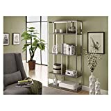 Monarch Specialties Reclaimed-Look/Chrome Metal Bookcase, 72-Inch, Dark Taupe