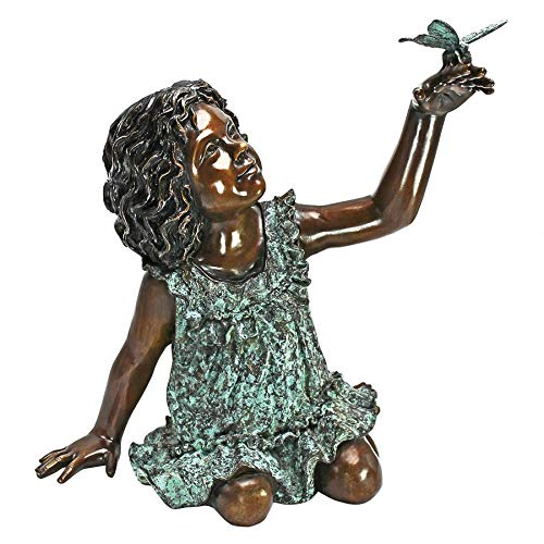 Girl with Butterfly Bronze Garden Statue