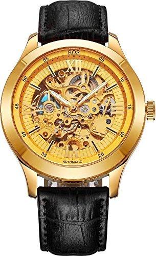 BOS Jefe de los hombres de la auto-viento mecánico automático esqueleto reloj de oro
