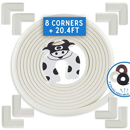 Bebe Earth | Baby Proofing Edge & Corner Guard Protector Set | Safety Bumpers | Child Proof Furniture & Tables | Pre-Taped Bumper Corners (20.4 ft + 8 Corners, Oyster White)