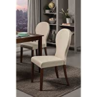 Coaster Home Furnishings 120362 Contemporary Dining Chair, Walnut/Ivory, Set of 2