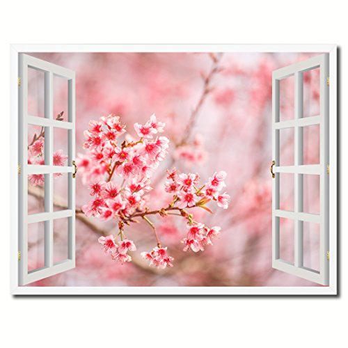 Cherry Blossom Beautiful Flower Picture French Window Art 23005 Framed Canvas Print Office Wall Home Decor Collection Gift Ideas (Beautiful French Poster)