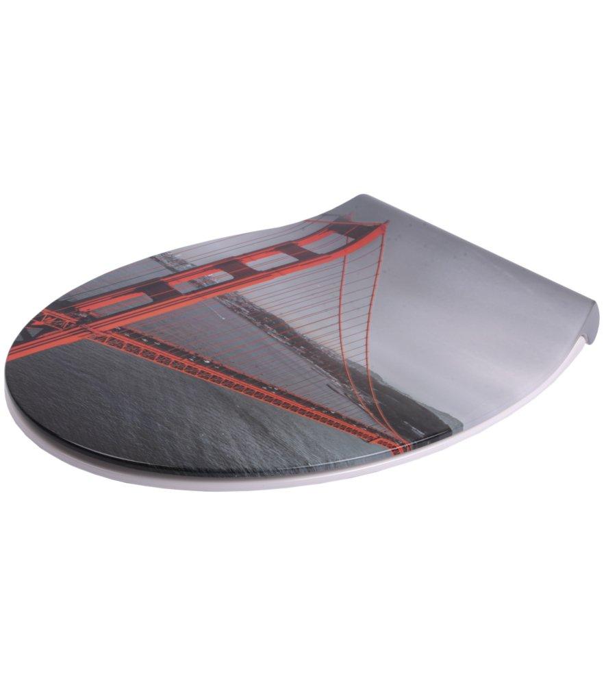 Flat Grau faszinierendes Design abnehmbar einfache Montage von oben WC Sitz mit Absenkautomatik aus Duroplast