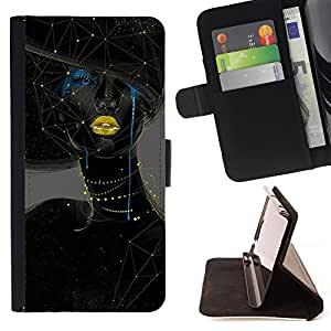 - Constellation Space - - Style PU Leather Case Wallet Flip Stand Flap Closure Cover FOR Samsung Galaxy S6 - Devil Case -
