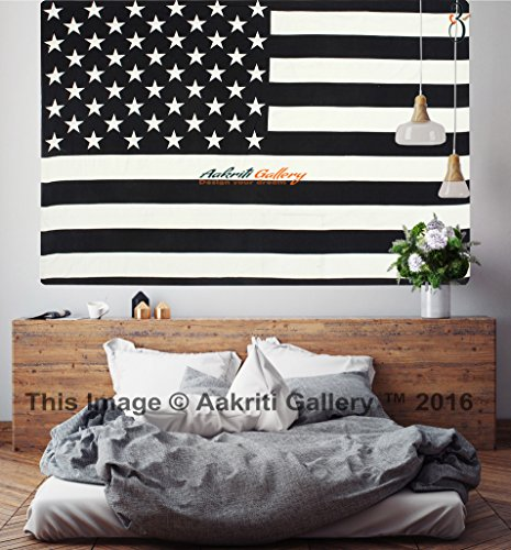 American Flag Tapestry Single USA flag Black and White hippie Mandala Dorm decor Wall Hanging Art Decor Hippie Dorm 84X55 inches by Aakriti Gallery