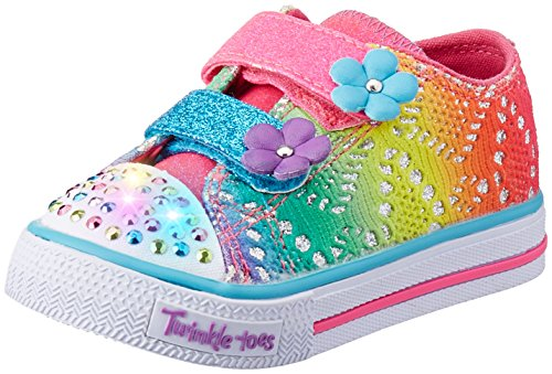 Skechers Kids Twinkle Toes Shuffles Sweet Steps Light-up Sneaker,Rainbow Multi Flowers,5 M US Toddler - Twinkle Flowers