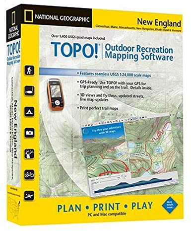 Topographic Map Of New England.National Geographic Topo Usgs New England Map Cd Rom Windows Or