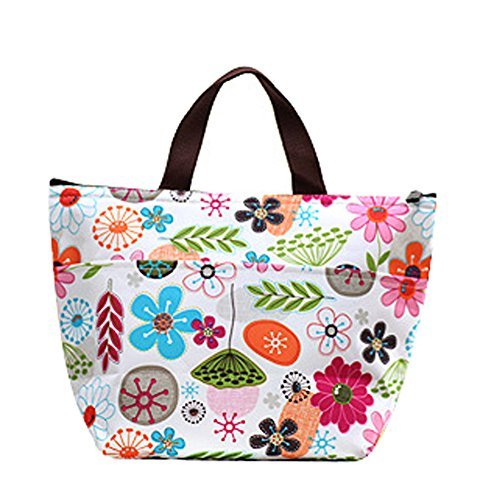 Ecokaki(TM) Womens Girls Kids Insulated School Travel Outdoor Thermal Waterproof Carrying Lunch Tote Bag Cooler Box Picnic Lunchbox Handbag, Flowers by Ecokaki
