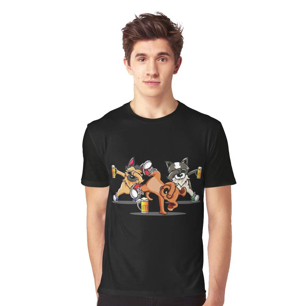 Dabbing Oktoberfest Dog Drinking Beer T Shirt For Funny Short Sleeve Tees