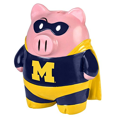 Michigan Wolverines Piggy Bank - Large Stand Up Superhero ()
