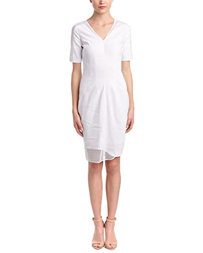 Elie Tahari Womens Linen-Blend Sheath Dress, 2, White