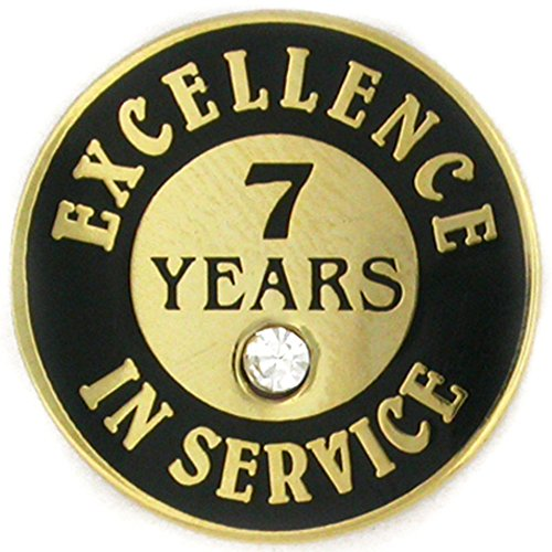 - PinMart's Gold Plated Excellence in Service Enamel Lapel Pin w/ Rhinestone - 7 Years