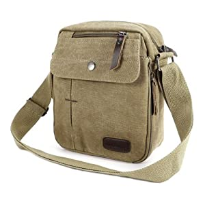 The Pecan Man Brown Men's Vintage Canvas Messenger Shoulder Bag Travel Hiking Satchel Military Shoulder Bag