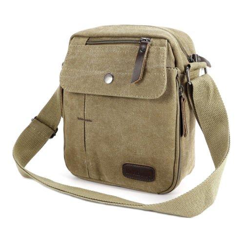 The Pecan Man Brown Men's Vintage Canvas Messenger Shoulder Bag Travel Hiking Satchel Military Shoulder - Spade Kate 20 Off
