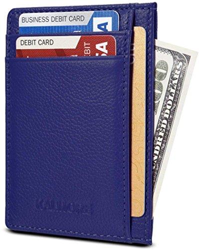 KALMORE Unisex-Adult's Petite Credit Card Holder Leather Slim Minimalist Wallet, Blue, Classic ()