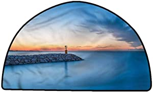 Non-Slip Bath Hotel Mats Summer,Early Morning Rising Sun,W24 x L16 Half Round Rugs for Sale