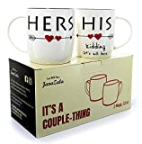 Janazala Funny Coffee Mugs For Couples, 'Kidding', His and Hers Mugs, Mr and Mrs, Couples gifts, Anniversary Gifts, Engagement, Christmas Gifts, Set of 2, 13 oz Cups