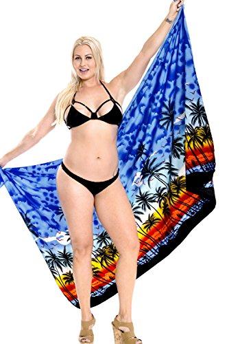 bikini e404 bagno sarong LEELA incorporati LA insabbiamento da legami da costume resort bagno nodo Blu beachwear involucro qOfg1