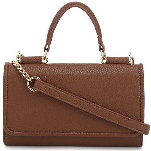 Crossbody Removable Strap Brown Handle with DELUXITY Purse Top Clutch Chain PYwtn
