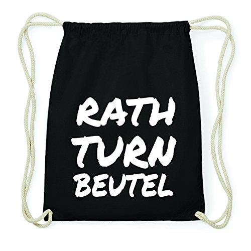 JOllify RATH Hipster Turnbeutel Tasche Rucksack aus Baumwolle - Farbe: schwarz Design: Turnbeutel