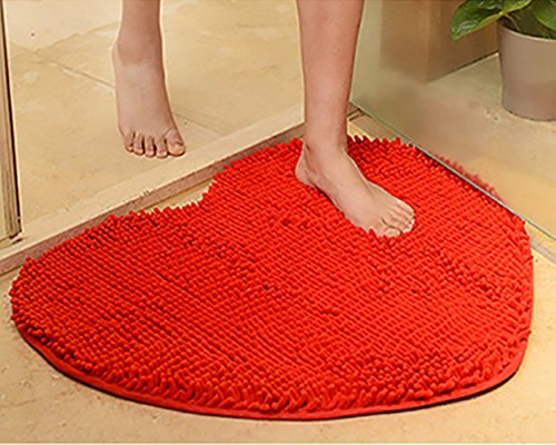 (Yuanlar Non-Slip Microfiber Bath Mats Bathroom Shower Rugs Door Mat Toilet Rug Area Carpet for Home Living Room Kitchen Heart-Shaped (23.6''x27.6'', Red))