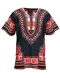 KlubKool Dashiki Shirt Tribal African Caftan Boho Unisex Top Shirt (Black/Red,Medium)