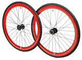700c tires and rims - Retrospec Bicycles Mantra Fixed-Gear/Single-Speed Wheelset with 700 x 25C Kenda Kwest Tires and Sealed Hubs, Red