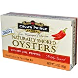 Crown Prince Natural, Naturally Smoked Oysters with Red Chili Peppers, Mildly Spiced, 3 oz Pack Of 12
