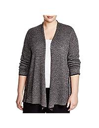 Eileen Fisher Womens Plus Peplum Wool Cardigan Sweater