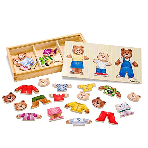 "Melissa & Doug Bear Family Dress-Up Puzzle (Preschool, Mix-and-Match Outfits, Durable Wooden Construction, Sturdy Storage Box, 45 Pieces, 12.5"" H x 6.2"" W x 2"" L)"