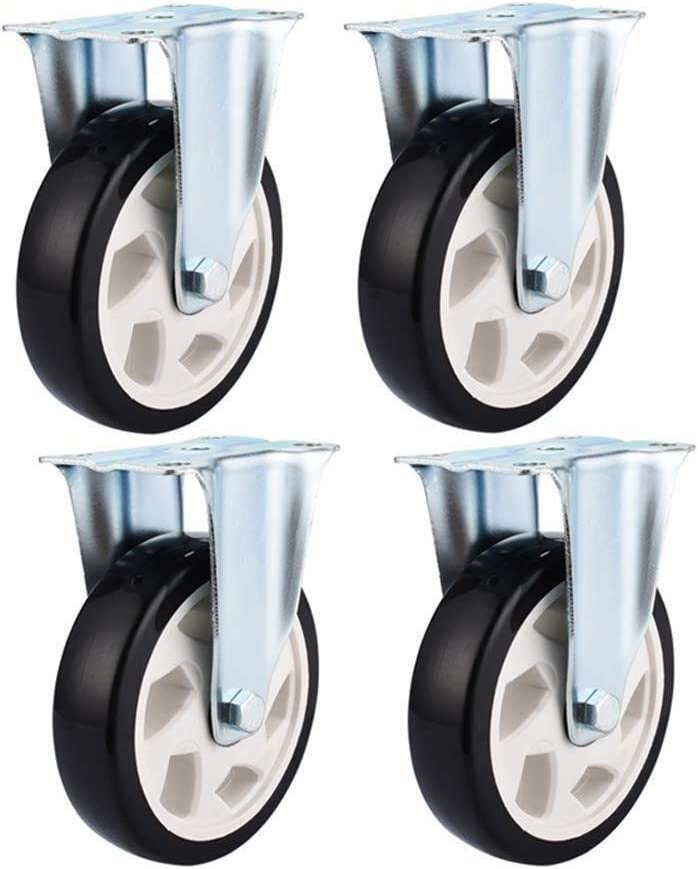 Byrhgood Casters 4 PCS Casters Industrial Transport Heavy Duty Fixed Plate Wheel Universal Rotary Brake 4 Piece 3 Inch 75 Mm Long-term Use Color : B, Size : 3in