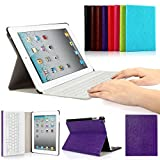 CoastaCloud iPad 2/3/4 Really Thin Smart Stand Cover with Magnetically Detachable Wireless Bluetooth Keyboard Case for Apple iPad 2 3 4 (Purple)