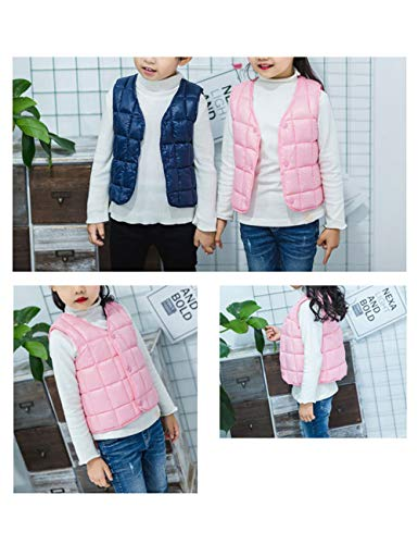 Girls Casual Boys Down Pink Warm Lightweight Outwear Slim Vest Sleeveless BESBOMIG fit Cotton for Jacket Waistcoat Child Gilet HqxZwfAfC